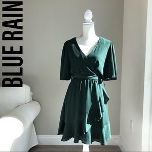 BLUE RAIN wrap mini dress with ruched skirt